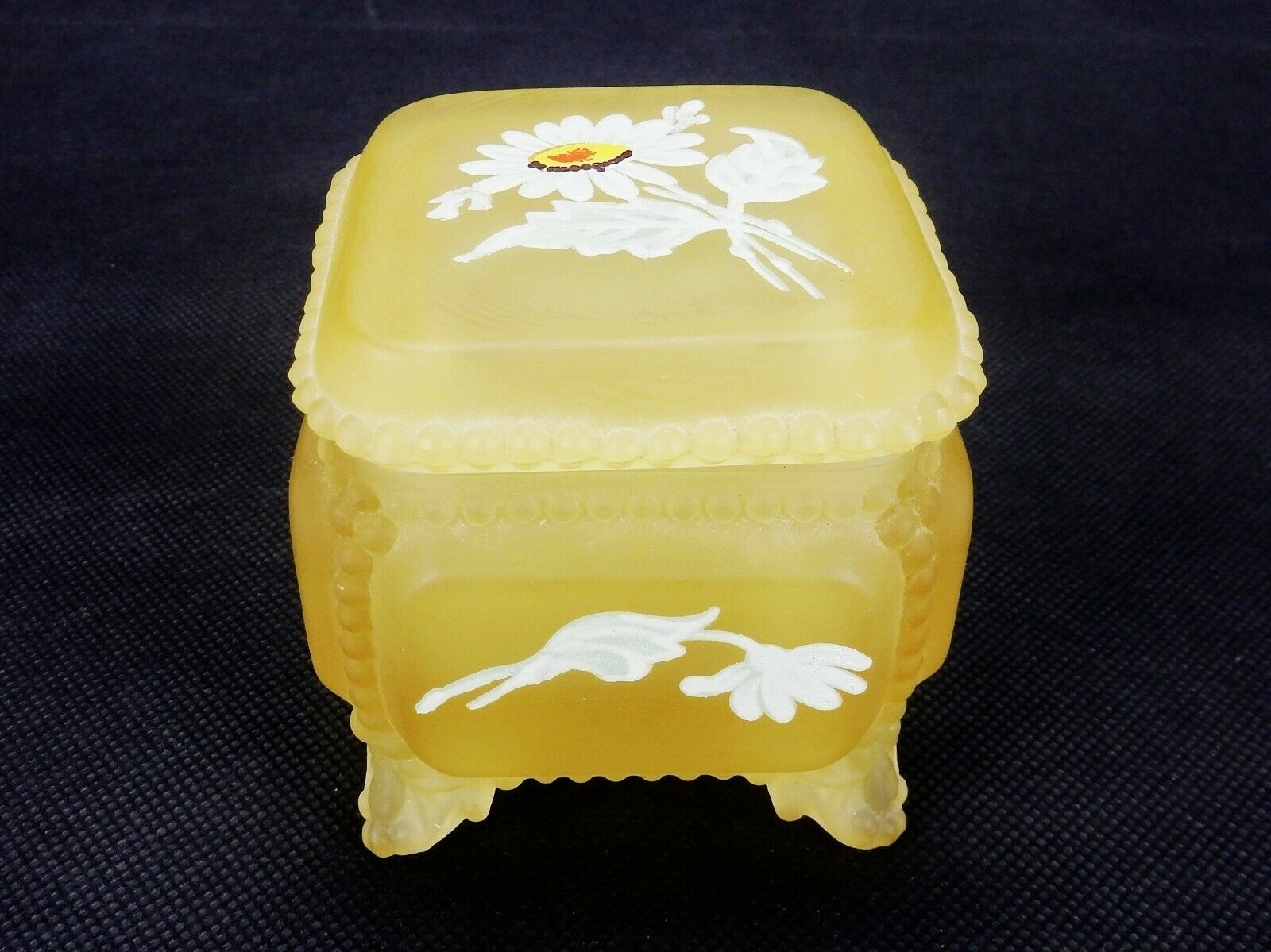 Primary image for Westmoreland Satin Glass Trinket Box Hand Painted Yellow Satin Glass Footed Box