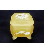 Westmoreland Satin Glass Trinket Box Hand Painted Yellow Satin Glass Foo... - $29.35