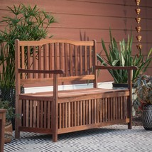 Outdoor Bench Curved Back Wood Backyard Patio Garden Storage   - $278.98