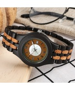 Retro Ebony Wooden Watch Men Full Natural Bamboo Wood Adjustable Band Le... - $155.00
