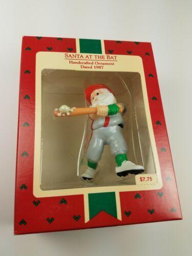 Hallmark 1987 Keepsake Ornament Santa at the Bat Snow Baseball Player LT#111 image 4