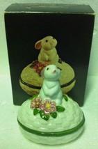 Vintage 1982 Avon Bunny Luv Hand Painted Trinket Box -EASTER Decor -Original Box - $9.89