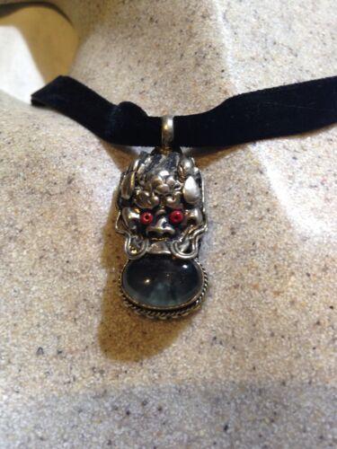 Vintage Argent Bronze Véritable Tibet Mousse Agate Dragon Collier Ras Du Cou