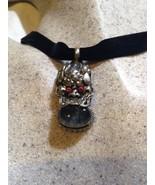 Vintage Argent Bronze Véritable Tibet Mousse Agate Dragon Collier Ras Du... - $64.34