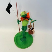 "Vintage Annalee 1999 Picnicking Frog 8"" Basket Fishing Pole - $25.71"