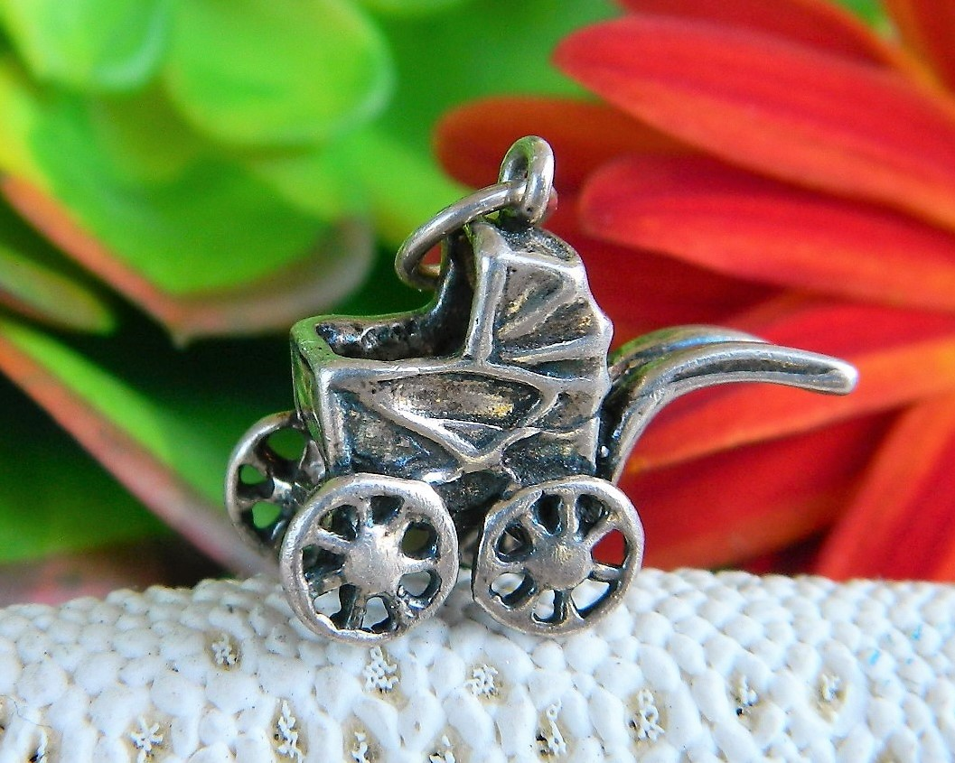 Primary image for Vintage Baby Carriage Stroller Bracelet Charm Sterling Silver Jezlaine