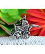Vintage Baby Carriage Stroller Bracelet Charm Sterling Silver Jezlaine - $12.95