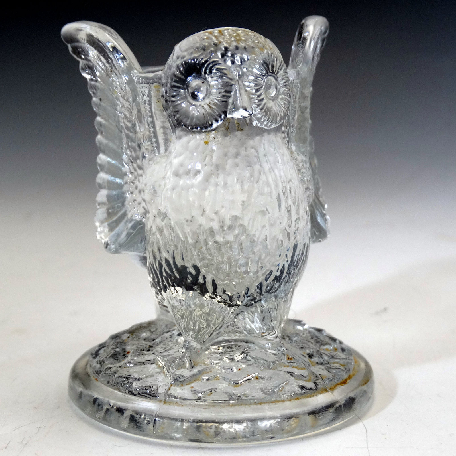 Vintage Westmoreland Glass Owl Toothpick Holder with label