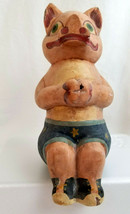 Primitive Folk Art Rustic PIG HOG Figurine Statue Figure Shelf Sitter Si... - $24.95