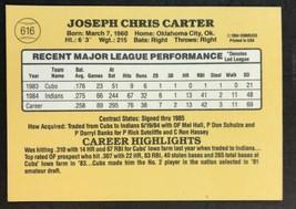 1985 Donruss Baseball Card #616 - Joe Carter - Cleveland Indians image 2