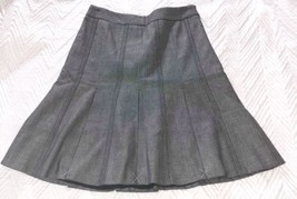 Ann Taylor Loft 4P Skirt Gray Pleated Career Zipper Button - $19.79