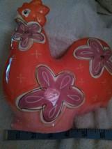 ORANGE FLOWERED CHICKEN PIGGY BANK BELLA CASA GNAZ VINTAGE AMERICANA - $15.00