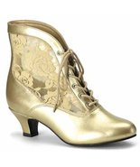 Pleaser Dame-05 (9, Gold) Victorian Granny Boots Lace Accent - $44.88