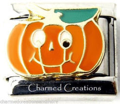 Jack-O-Lantern Silly Pumpkin Halloween 9mm Italian Charm Stainless Steel Link - $7.87