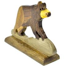 Northwoods Handmade Wooden Parquetry Black Brown Bear Sculpture Figurine image 2