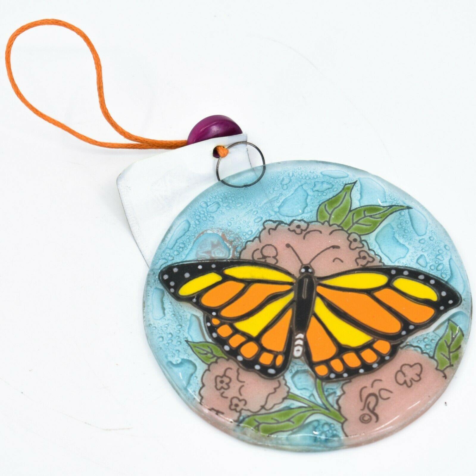 Monarch Butterfly Fused Art Glass Ornament Sun Catcher Handmade Ecuador