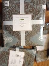Pottery Barn Mason Duvet Cover Set Blue Gray Queen 2 Standard Sham Medal... - $153.88