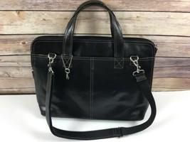 Fossil Leather Briefcase Laptop Bag Shoulder Strap Black - $47.49