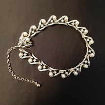 """Kramer Choker Necklace Gold Tone with Clear Rhinestone and Faux Pearl 11"""" - $22.44"""