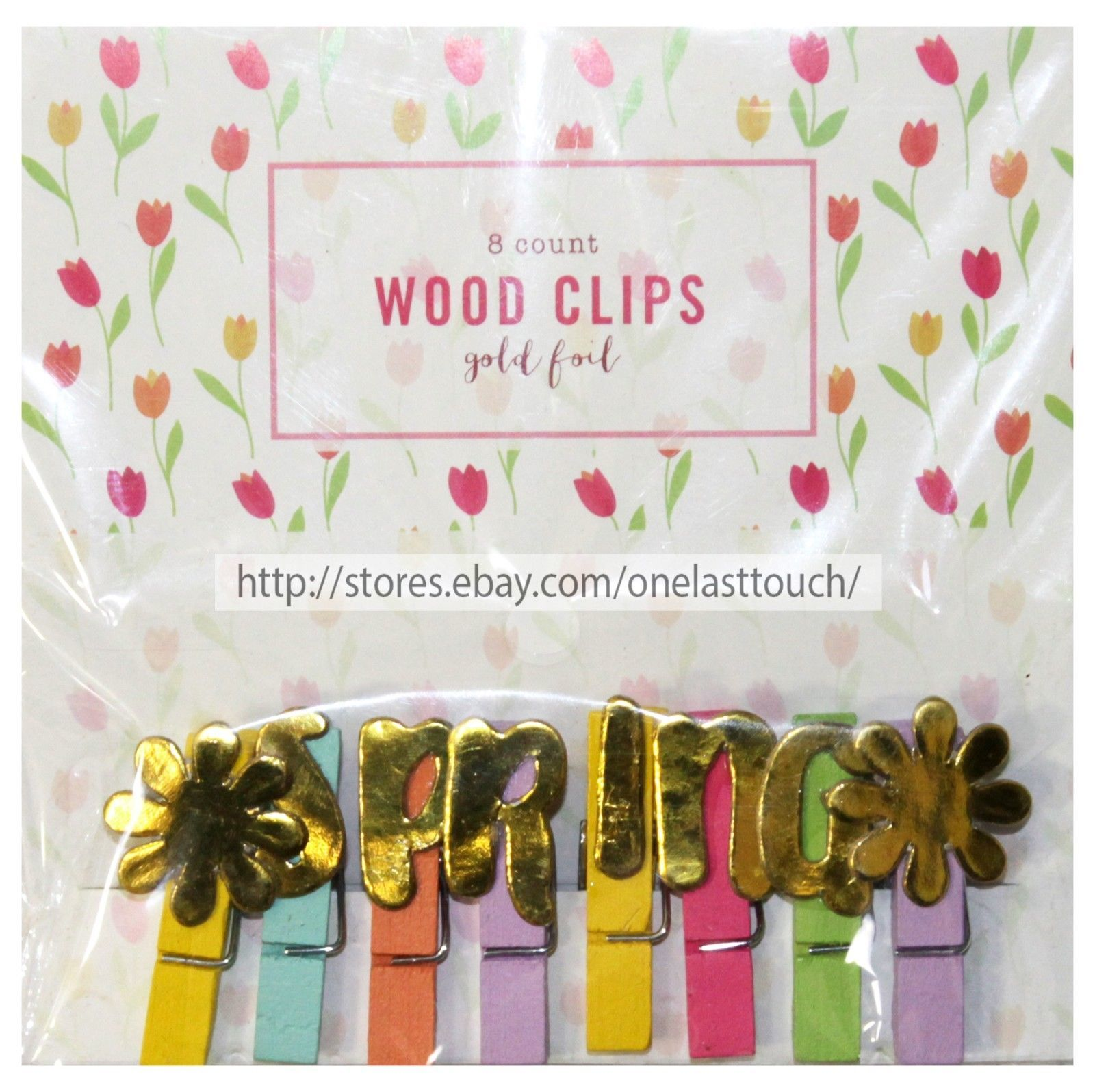 MFR* 8pc MINI WOOD CLIPS Gold Foil SPRING+FLOWERS Yellow+Orange+Lilac+Pink+Green