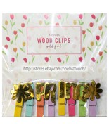MFR* 8pc MINI WOOD CLIPS Gold Foil SPRING+FLOWERS Yellow+Orange+Lilac+Pi... - $2.97