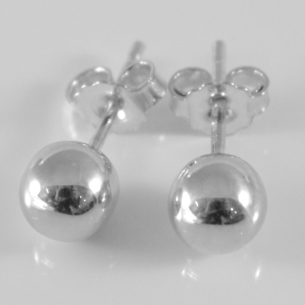 18K WHITE GOLD EARRINGS WITH 6 MM BALLS BALL ROUND SPHERE, MADE IN ITALY
