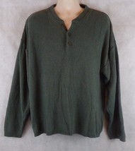 Men's WOOLRICH 3 Button 100% Cotton Green Sweater Size Large (XL) USA Made - $18.24