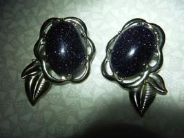 Vintage Purple Sparkle Cabochon Silver Clip earrings Pat.156452 - $24.75