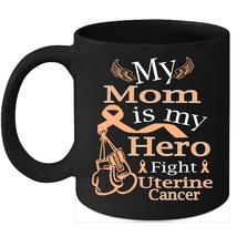 Uterine cancer 11oz coffee mug Fight Peach Ribbon for my Mom - $15.95