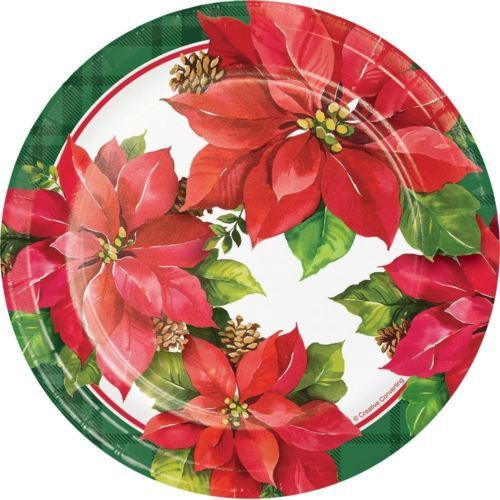 "Christmas Poinsettia Paper 7"" Dessert Cake Plates 8 Ct"