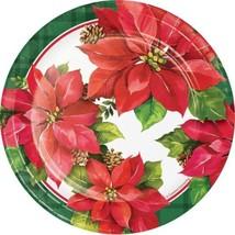"Christmas Poinsettia Paper 7"" Dessert Cake Plates 8 Ct - $3.99"