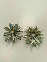 Vintage Silver Tone AB Rhinestone Flower Clip on Earrings - $7.91