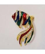 Vintage Tropical Fish Metal Brooch Pin Gold Tone Rhinestone Enamel Red G... - $14.99