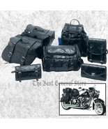 7pc Black Leather Motorcycle Travel Bags Saddlebags Luggage Backpack Sis... - $81.78