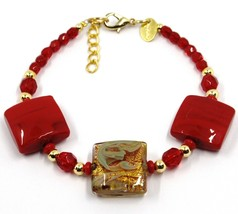 """BRACELET WITH RED MURANO SQUARE GLASS & GOLD LEAF, MADE IN ITALY, 19cm, 7.5"""" image 1"""