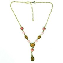 Avon Signed Goldtone Acrylic Oval Teardrop Faceted Pink Amber Drop Necklace - $14.54