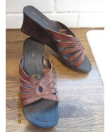 Women's Nature Trek Wood/Leather Wedge Sandals 8M Made in Brazil Worn Once! - $24.00