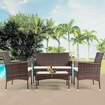 Rattan Patio Furniture Set Glass Top Table Cushioned Seat - £194.94 GBP