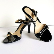 Franco Sarto Charm Heels Shoes Size 8.5 Med Strappy Slides Black Patent ... - $19.99