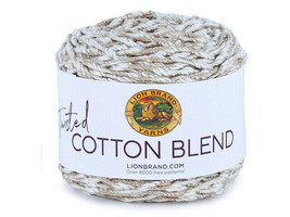 Lion Brand Twisted Cotton Blend Yarn in Tan/Ecru #765