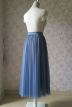 Dusty Blue Pleated Tulle Skirt Blue Tulle Pleated Maxi Skirt High Waisted  image 3