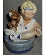 Louisville Stoneware FIGURAL LITTLE GIRL w/TEDDY BEAR Flower Frog or Bud... - $49.49