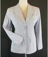 TALBOTS Size 4 Petite 4P Blue Seersucker Jacket Blazer - $11.99
