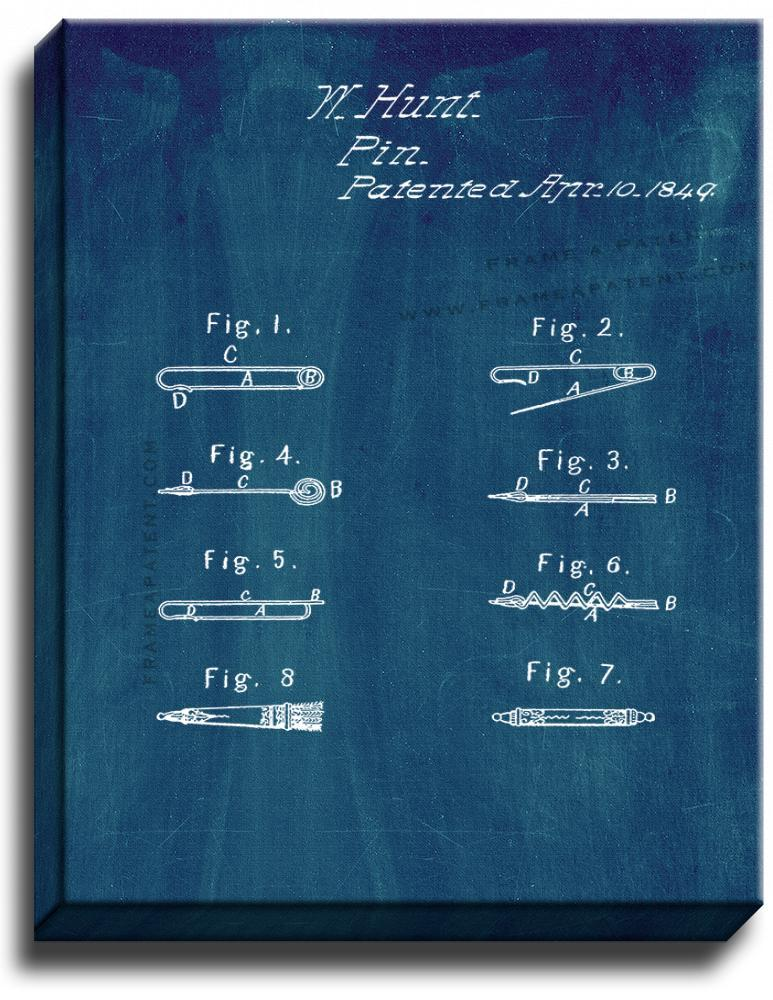 Primary image for Safety Pin Patent Print Midnight Blue on Canvas