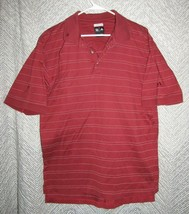 Adidas 60's 2 Ply Mercerized Maroon Striped Polo Glenmoor Embroidered Sz M - $13.86