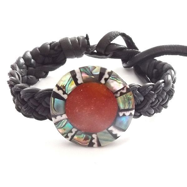 BLACK LEATHER WOVEN TIE ON FRIENDSHIP BRACELET WITH CORAL RED ABALONE SHELL DISC