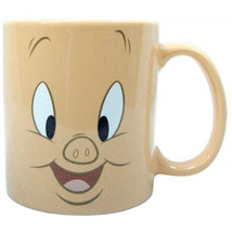 Looney Tunes Porky Pig Big Face 14 oz Tan Ceramic Coffee Mug, NEW UNUSED - $9.74
