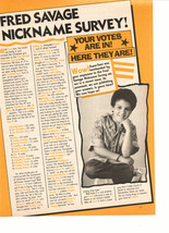 Fred Savage teen magazine pinup clipping Fred nickname survey on a stool - $1.50