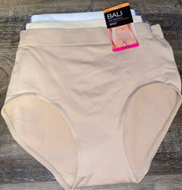 BALI ~ 3-Pair Women's Nylon Brief Underwear Panties One Smooth U ~ L/7 - $23.36