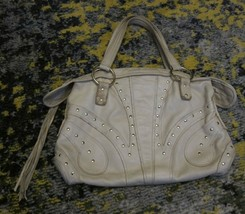 RARE BULGA Bag Ivory Leather Zipper Tassel Closure Gold Studded   - $100.42